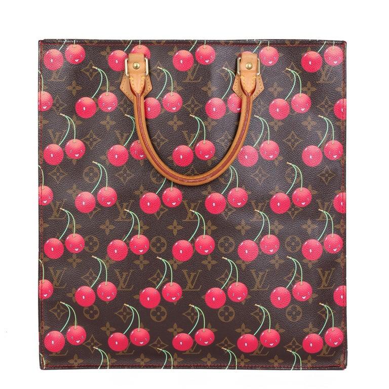 2005 Louis Vuitton Cherries Brown Monogram Coated Canvas Murakami Sac Plat For Sale 1