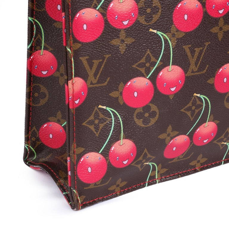 2005 Louis Vuitton Cherries Brown Monogram Coated Canvas Murakami Sac Plat For Sale 4