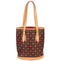 2005 Louis Vuitton Cherries Monogram Coated Canvas Leather Murakami Bucket Bag