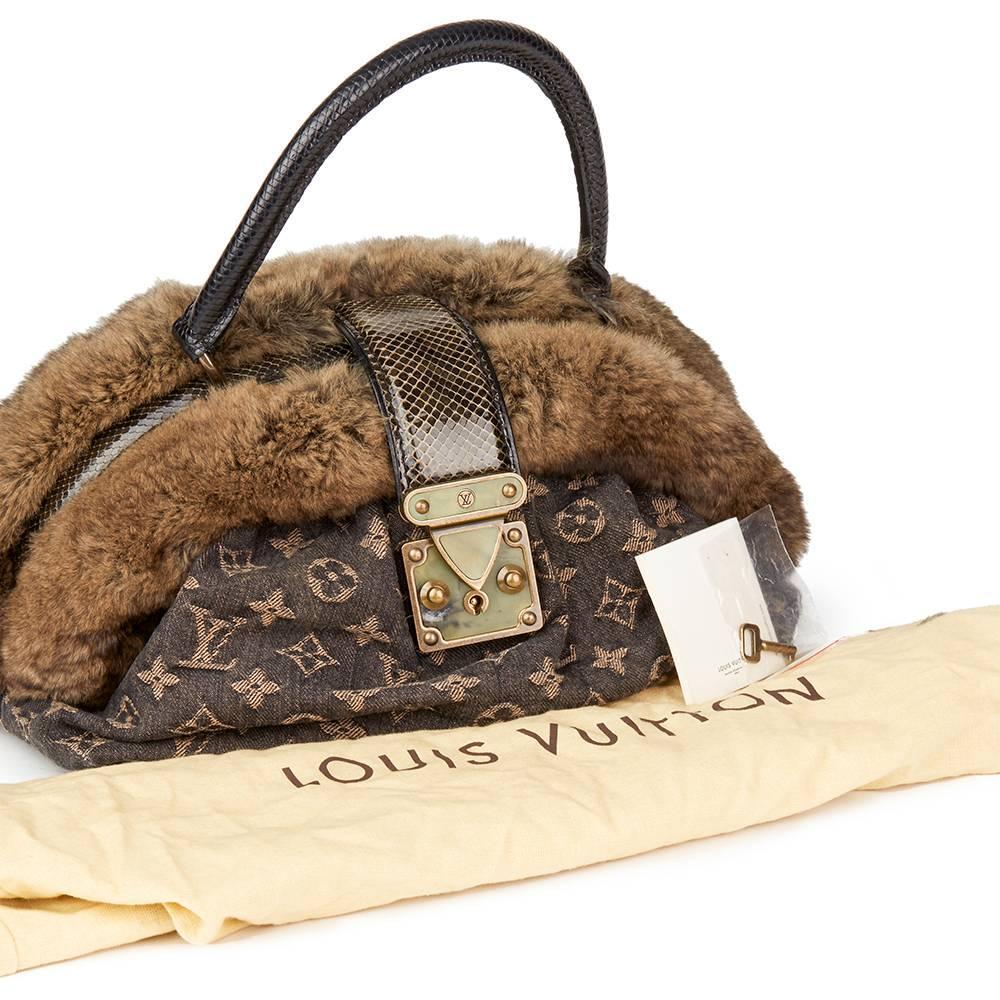 Louis Vuitton 2005 Louis Vuitton Denim Chinchilla Fur Lizard And Python Trim Demi Lune Mm VfJIl