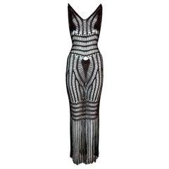 2005 Roberto Cavalli Sheer Brown Knit Fringe Bodycon Maxi Dress