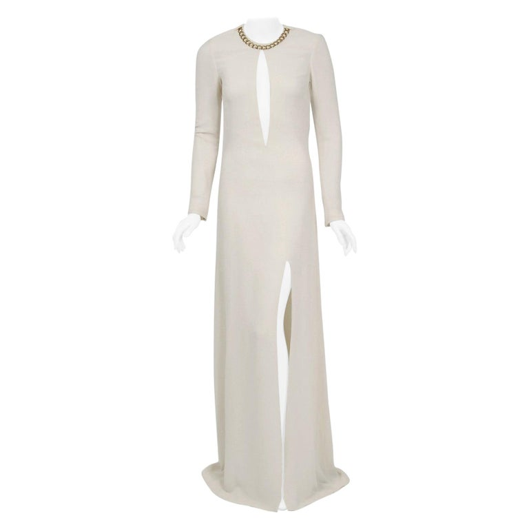 2006 Alexander McQueen Documented White Silk Crepe Chain Plunge High-Slit Gown For Sale
