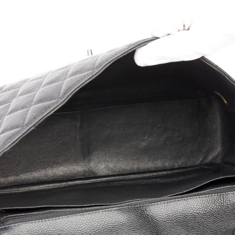 2006 Chanel Black Caviar Leather Jumbo  Classic Single Flap Bag  For Sale 6