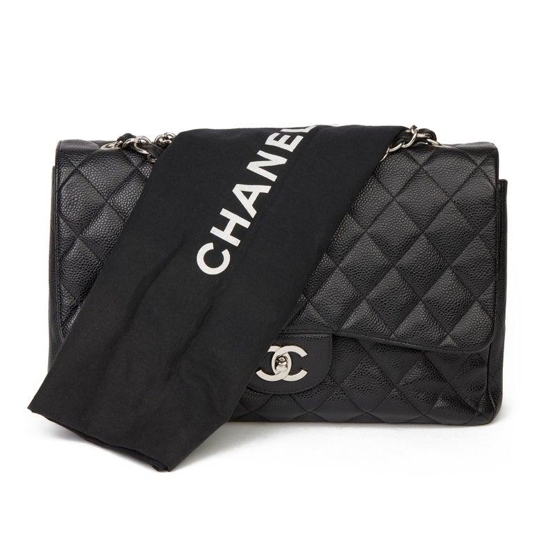 2006 Chanel Black Caviar Leather Jumbo  Classic Single Flap Bag  For Sale 7