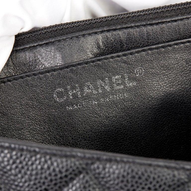 2006 Chanel Black Caviar Leather Jumbo  Classic Single Flap Bag  For Sale 8