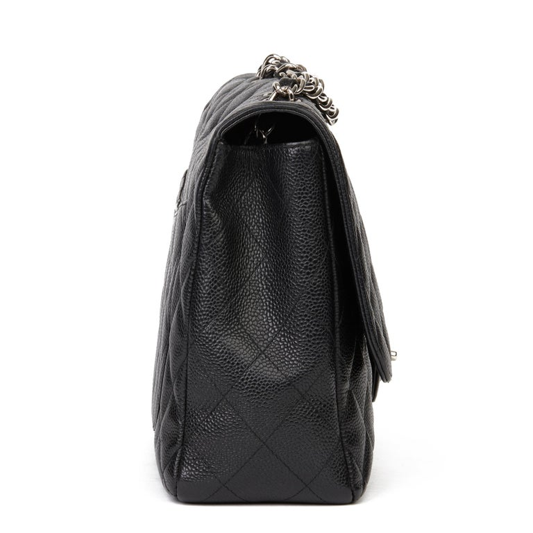 2006 Chanel Black Caviar Leather Jumbo  Classic Single Flap Bag  In Excellent Condition For Sale In Bishop's Stortford, Hertfordshire