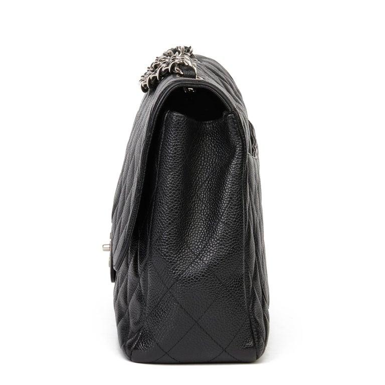 Women's 2006 Chanel Black Caviar Leather Jumbo  Classic Single Flap Bag  For Sale