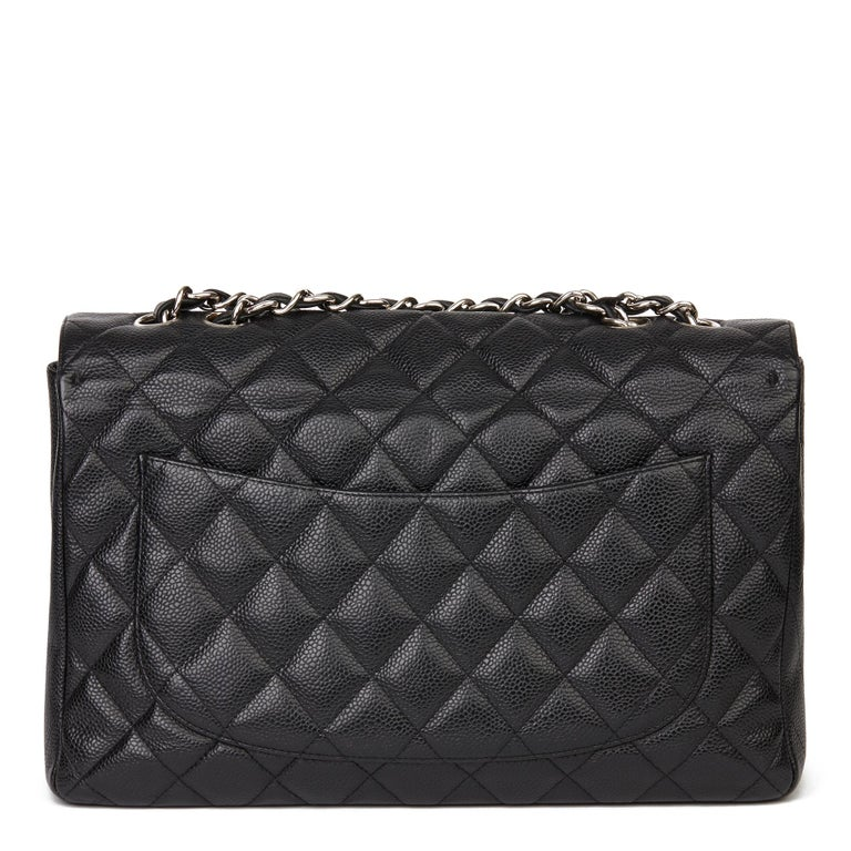 2006 Chanel Black Caviar Leather Jumbo  Classic Single Flap Bag  For Sale 1