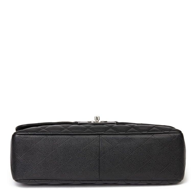 2006 Chanel Black Caviar Leather Jumbo  Classic Single Flap Bag  For Sale 2