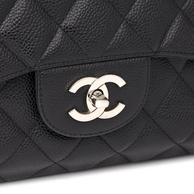 2006 Chanel Black Caviar Leather Jumbo  Classic Single Flap Bag  For Sale 3