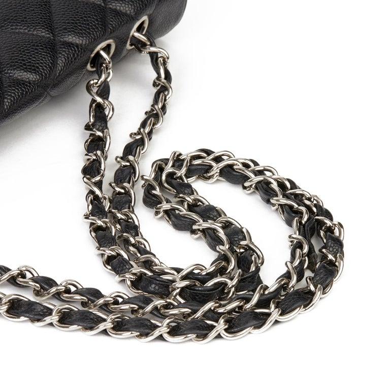 2006 Chanel Black Caviar Leather Jumbo  Classic Single Flap Bag  For Sale 4