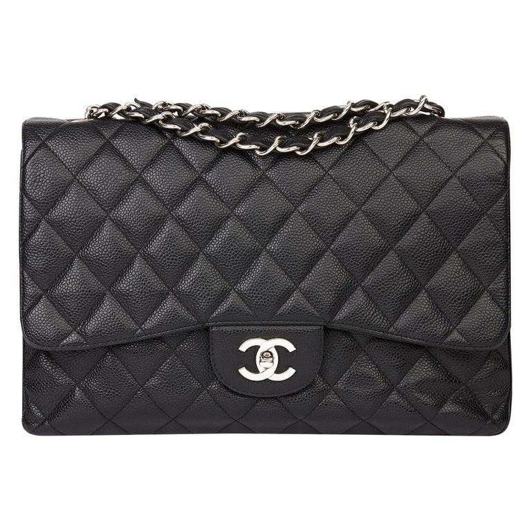 2006 Chanel Black Caviar Leather Jumbo  Classic Single Flap Bag  For Sale