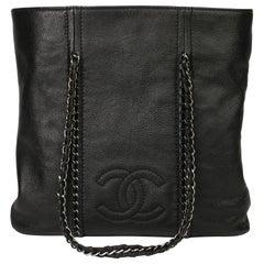 2006 Chanel Black Metallic Dearskin Leather Luxe Ligne Tote