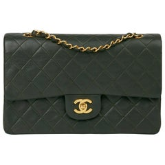 2006 Chanel Khaki Quilted Lambskin Vintage Medium Classic Double Flap Bag