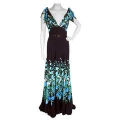 2006 Gucci Flora Print Silk Gown