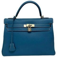 2006 Hermès Blue Jean Togo Kelly 32 Bag
