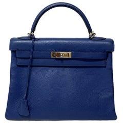 2006 Hermes Blue Leather kelly 32 Bag