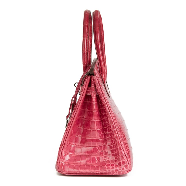 Pink 2006 Hermes Fuschia Shiny Porosus Crocodile Leather 'Diamond' Birkin 30cm For Sale