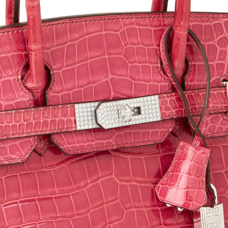 2006 Hermes Fuschia Shiny Porosus Crocodile Leather 'Diamond' Birkin 30cm For Sale 1