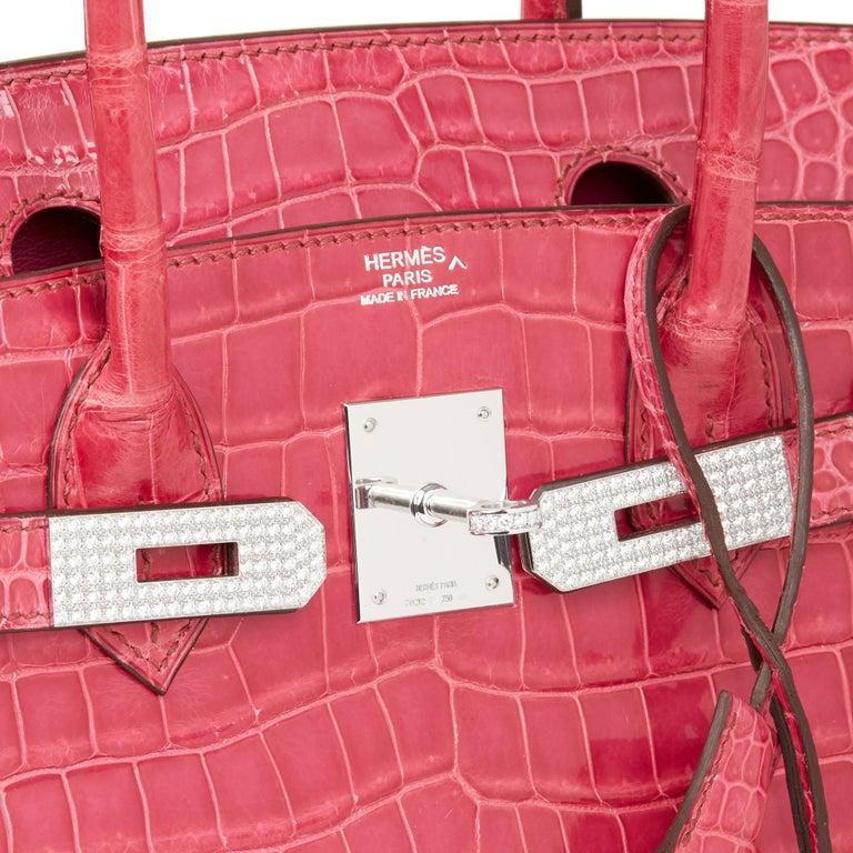 2006 Hermes Fuschia Shiny Porosus Crocodile Leather 'Diamond' Birkin 30cm For Sale 2
