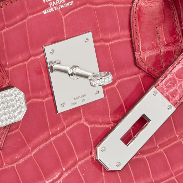 2006 Hermes Fuschia Shiny Porosus Crocodile Leather 'Diamond' Birkin 30cm For Sale 3