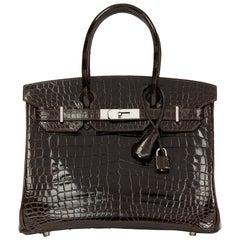 2006 HermèsMarron Fonce Shiny Niloticus Crocodile Leather Birkin 30cm