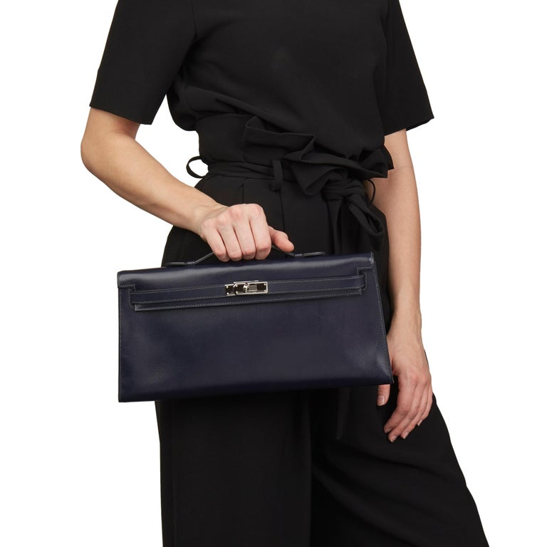 2006 Hermes Navy Box Calf Leather Kelly Longue Clutch For Sale 5