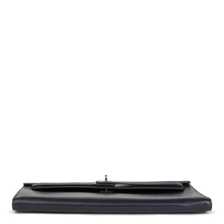 Black 2006 Hermes Navy Box Calf Leather Kelly Longue Clutch For Sale