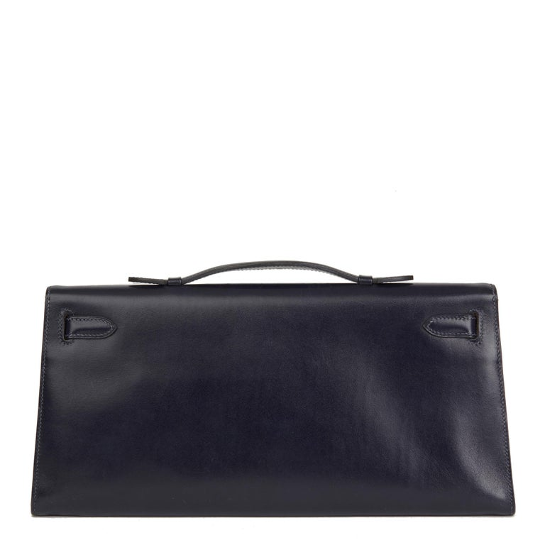 2006 Hermes Navy Box Calf Leather Kelly Longue Clutch In Excellent Condition For Sale In Bishop's Stortford, Hertfordshire