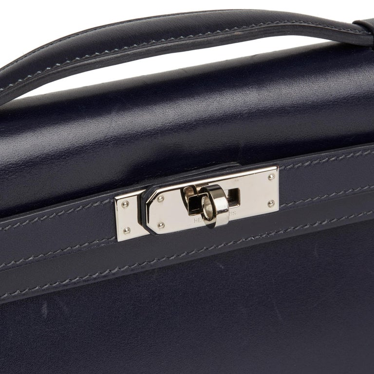 Women's 2006 Hermes Navy Box Calf Leather Kelly Longue Clutch For Sale