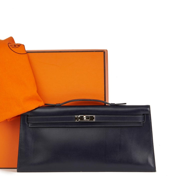 2006 Hermes Navy Box Calf Leather Kelly Longue Clutch For Sale 4