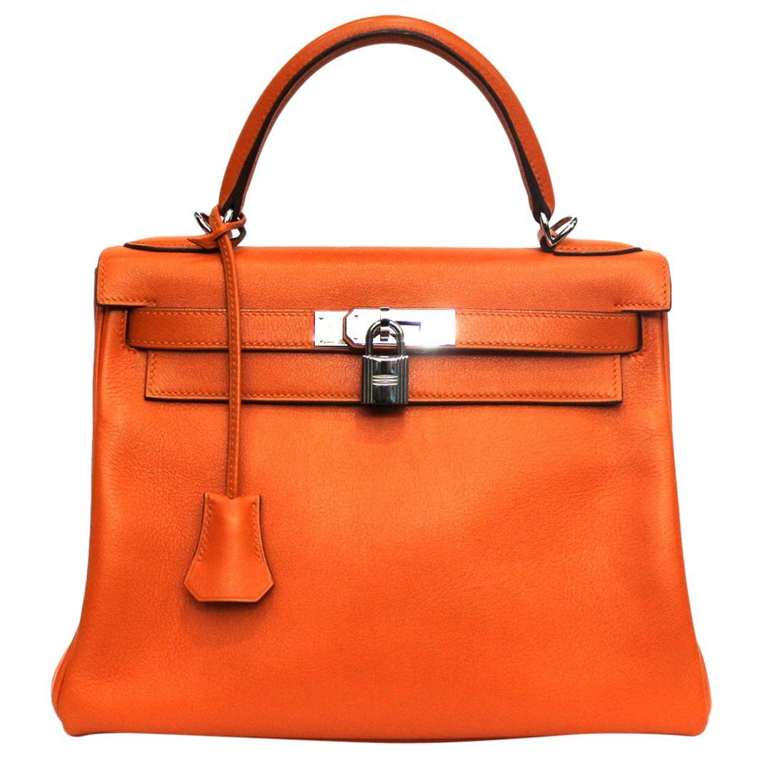 2006 Hermès Orange Leather Kelly 28 Bag
