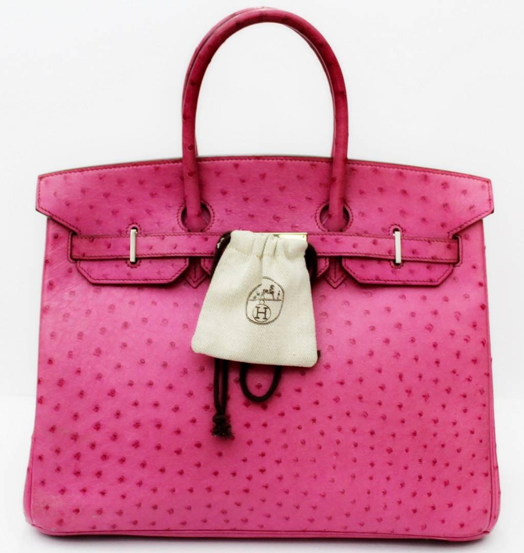 a9bb898962 ... inexpensive hermes pink ostrich leather 35cm birkin bag 2006 for sale 8  5fe33 332c7