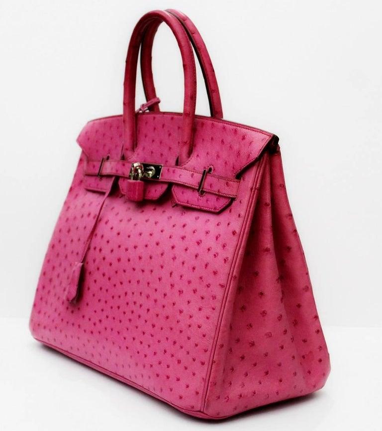 Hermes Pink Ostrich Leather 35cm Birkin Bag 2006 For 3