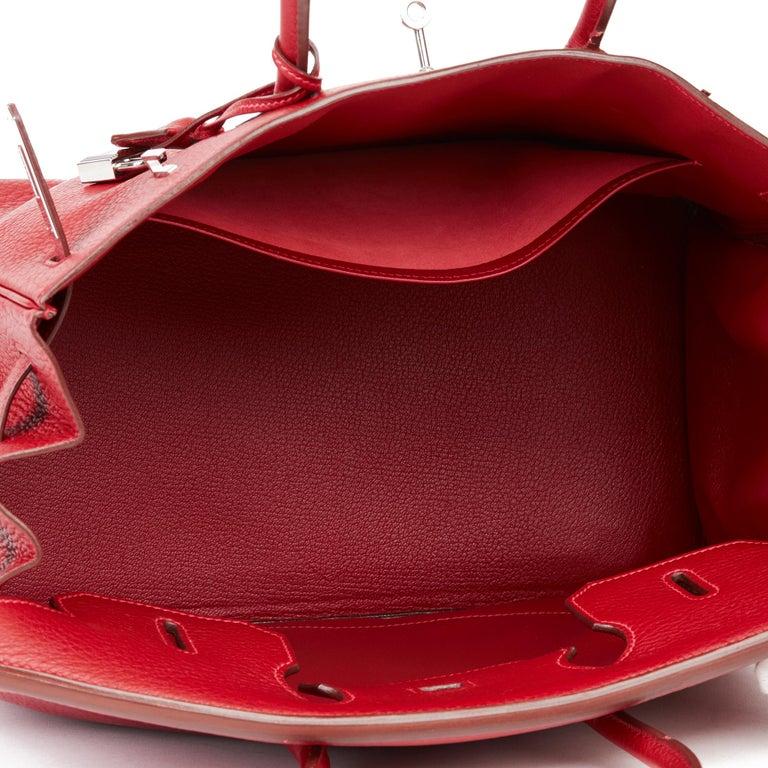 2006 Hermès Rouge Garance Fjord Leather Birkin 35cm For Sale 5