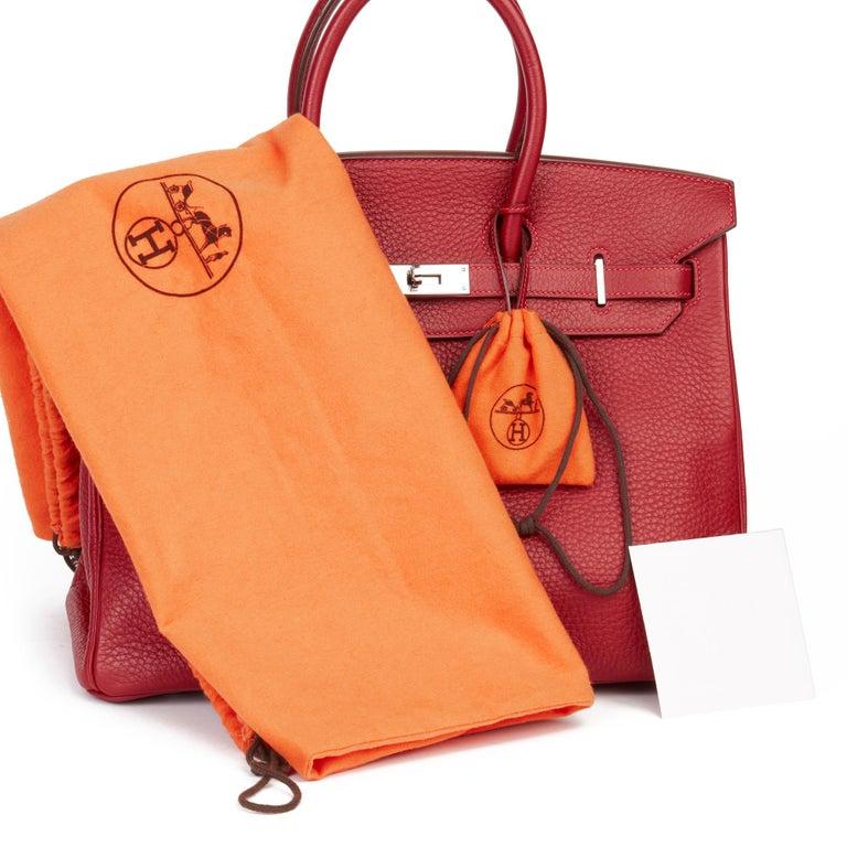2006 Hermès Rouge Garance Fjord Leather Birkin 35cm For Sale 6