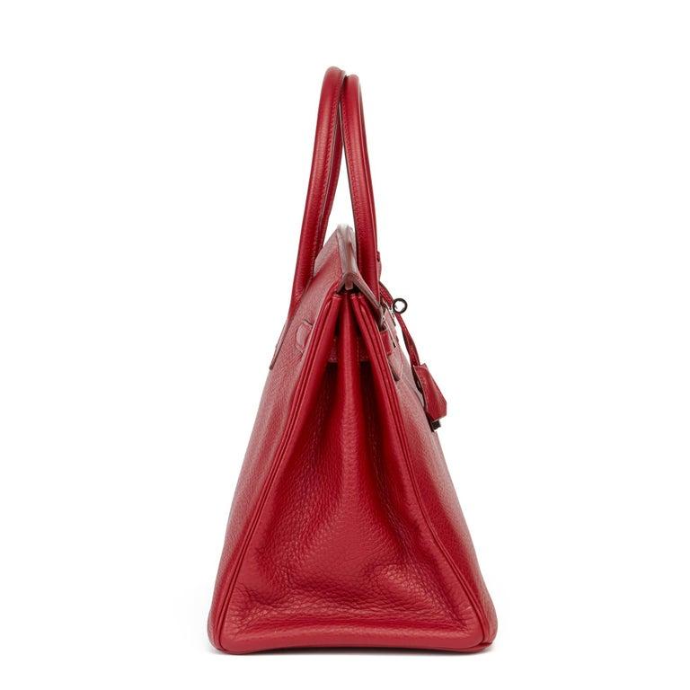 Red 2006 Hermès Rouge Garance Fjord Leather Birkin 35cm For Sale
