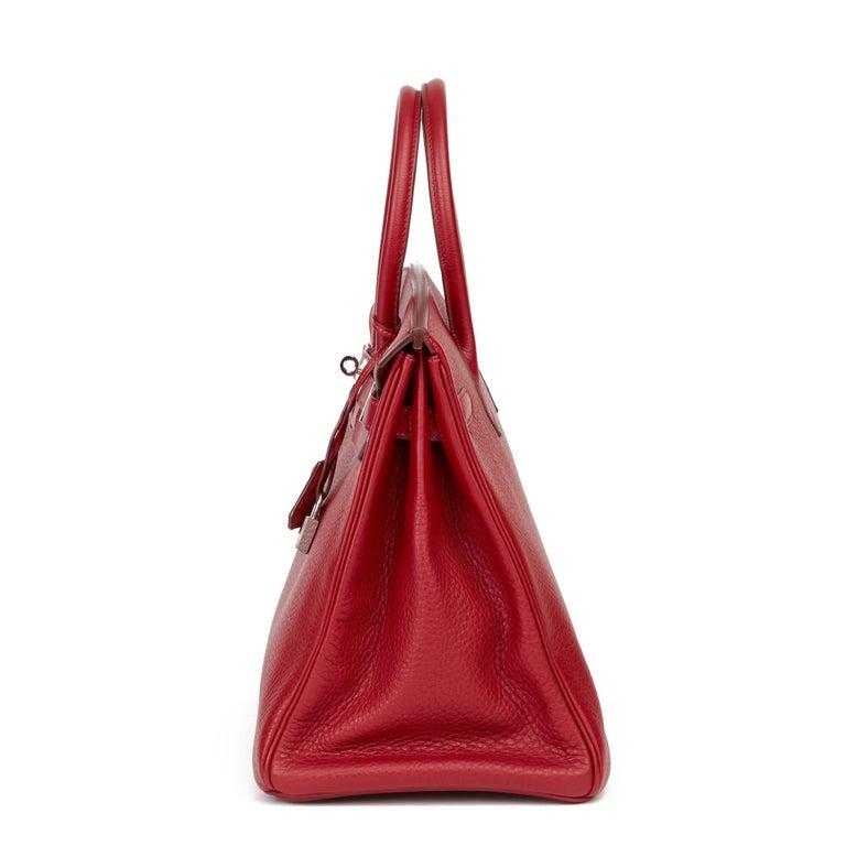 2006 Hermès Rouge Garance Fjord Leather Birkin 35cm In Excellent Condition For Sale In Bishop's Stortford, Hertfordshire