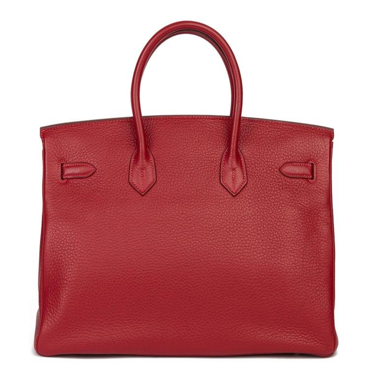 Women's 2006 Hermès Rouge Garance Fjord Leather Birkin 35cm For Sale
