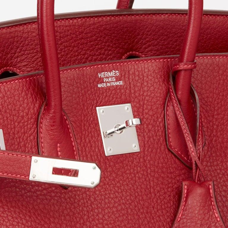 2006 Hermès Rouge Garance Fjord Leather Birkin 35cm For Sale 3