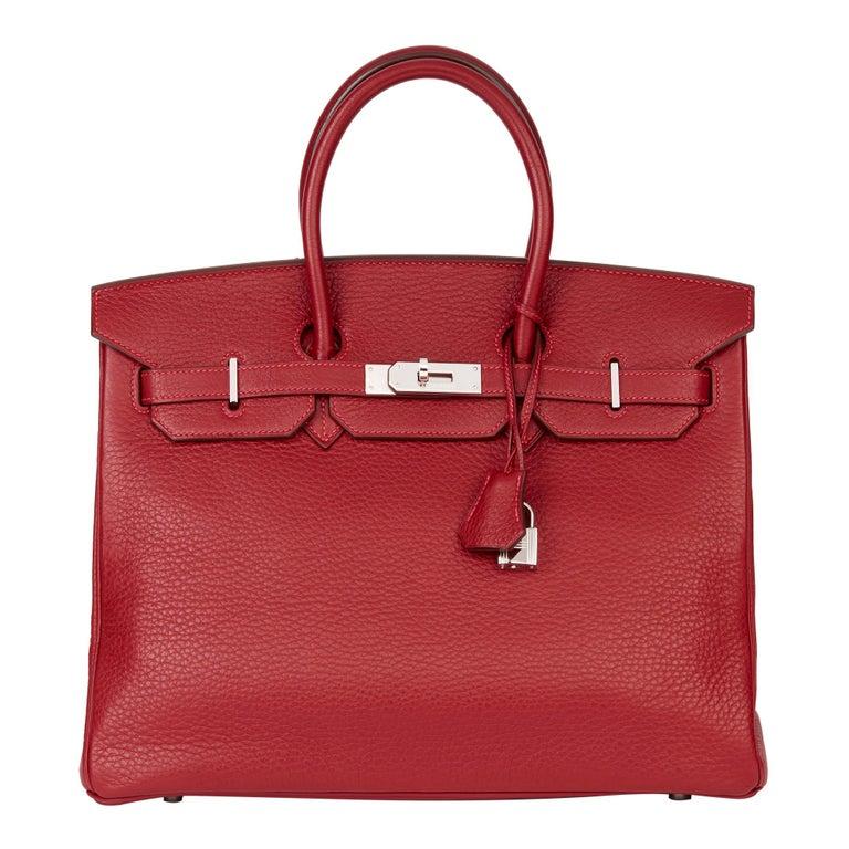 2006 Hermès Rouge Garance Fjord Leather Birkin 35cm For Sale
