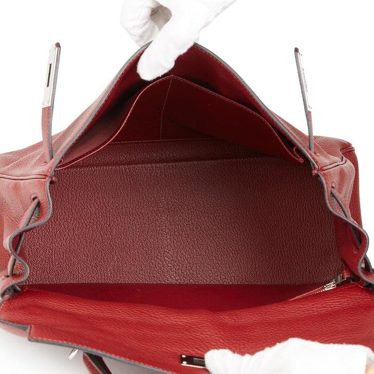 2006 Hermès Rouge H Clemence Leather Kelly 32cm Retourne For Sale 5