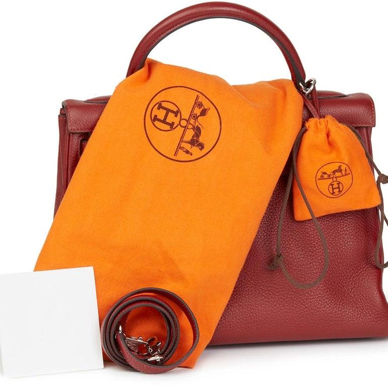 2006 Hermès Rouge H Clemence Leather Kelly 32cm Retourne For Sale 6