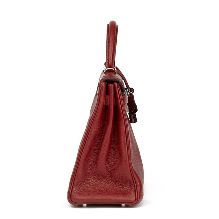 2006 Hermès Rouge H Clemence Leather Kelly 32cm Retourne In Excellent Condition For Sale In Bishop's Stortford, Hertfordshire