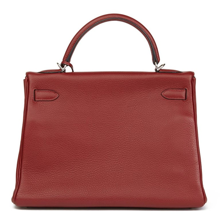 Women's 2006 Hermès Rouge H Clemence Leather Kelly 32cm Retourne For Sale