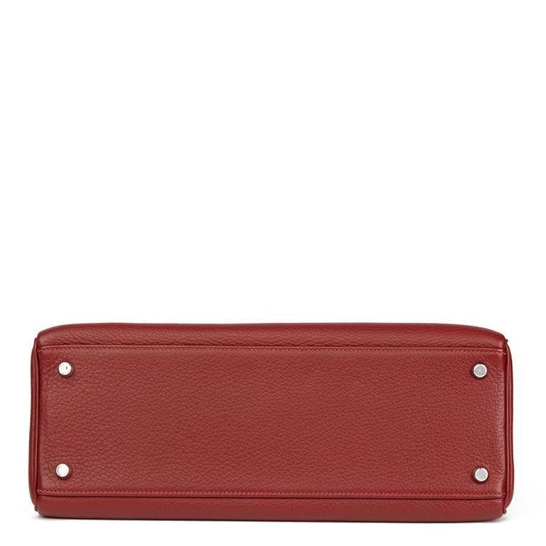 2006 Hermès Rouge H Clemence Leather Kelly 32cm Retourne For Sale 1