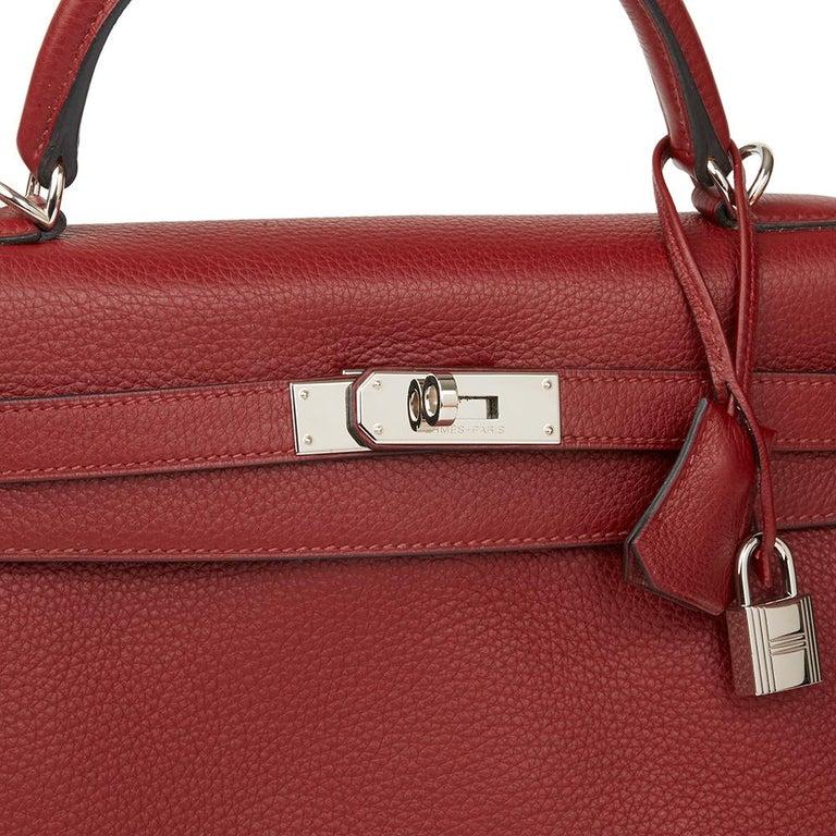 2006 Hermès Rouge H Clemence Leather Kelly 32cm Retourne For Sale 2