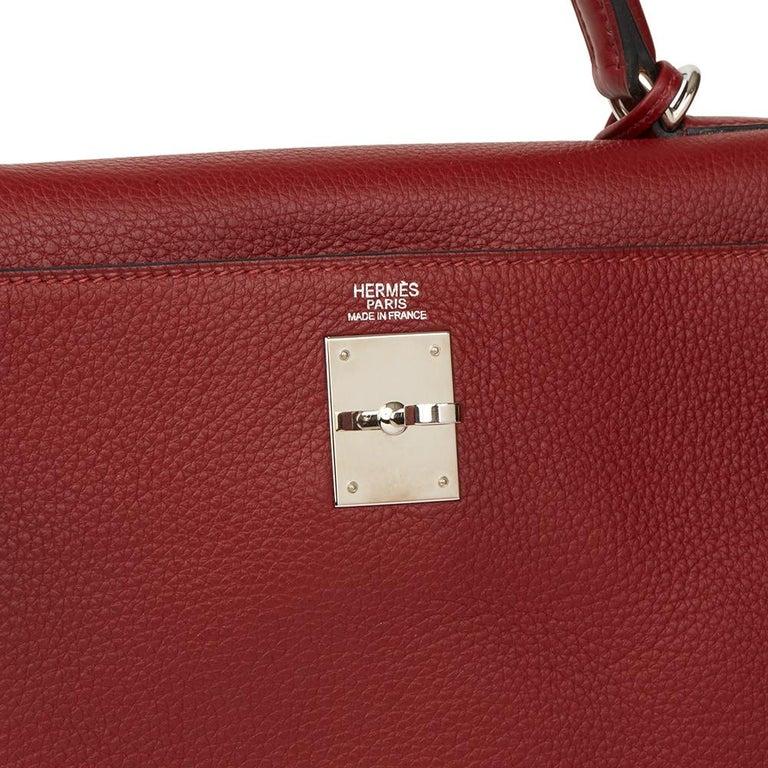 2006 Hermès Rouge H Clemence Leather Kelly 32cm Retourne For Sale 3