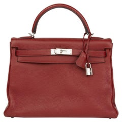 2006 Hermès Rouge H Clemence Leather Kelly 32cm Retourne