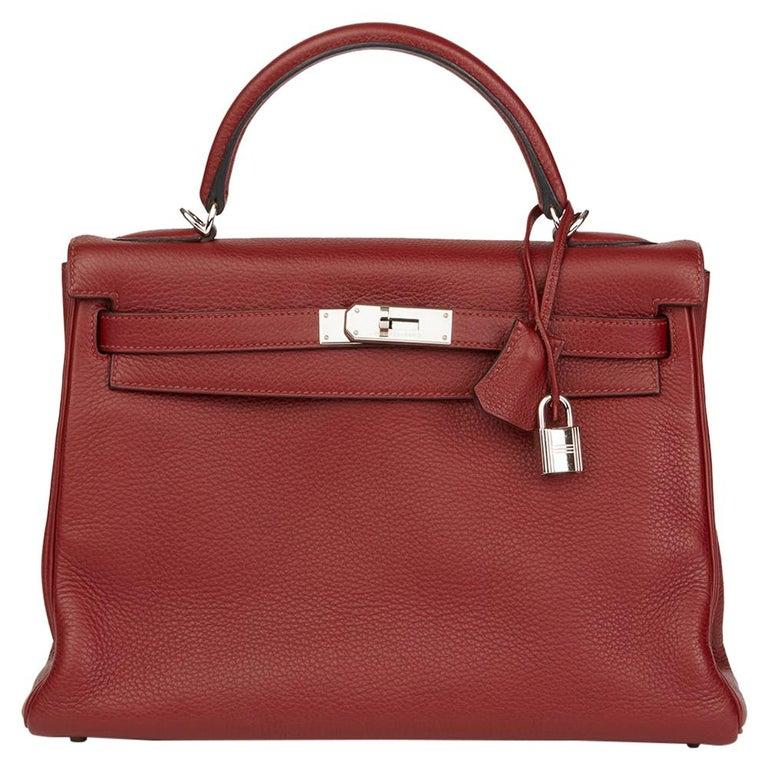 2006 Hermès Rouge H Clemence Leather Kelly 32cm Retourne For Sale
